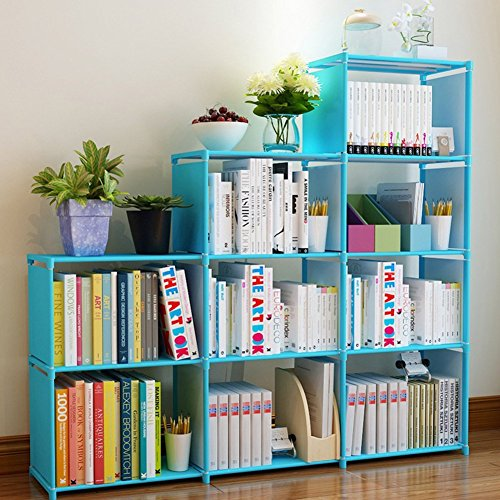 Fashine DIY Adjustable Bookcase, Bookshelf with 9 Book Shelves, Home Furniture Storage (Blue)