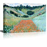 Poppy Field in a Hollow Near Giverny by Claude Monet - Canvas Print Wall Art Famous Painting Reproduction -32' x 48'