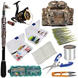 Dr.Fish Fishing Rod and Reel Combos Package Outfit 125pcs Full Kit Lines Lure Bait Accessories Fishing Carrier Bag Gear Organizer Saltwater Freshwater