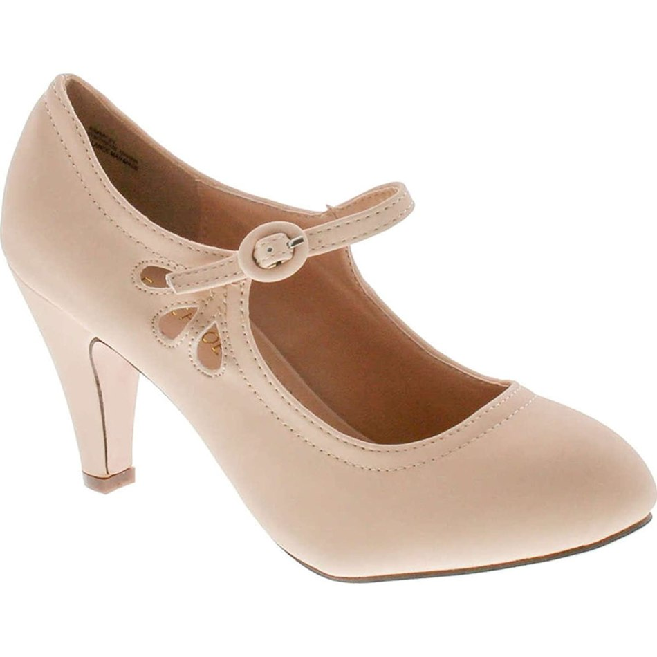 Chase & Chloe Kimmy-21 Womens Round Toe Mid Heel Mary Jane Pumps-Shoes