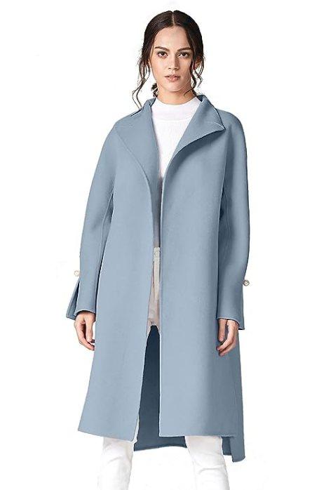 ANNA&CHRIS Women's Long Wool Trench Coat Winter Oversize Handmade Lapel Cardigan Overcoat Light Blue