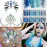 COKOHAPPY 2 Sheets Face & Breast Mermaid Rhinestones Sticker Gem with 8 Boxes 10ml Holographic Chunky Glitter Ultra-thin Colorful Mixed Paillette - Festival Rave Party Jewel Tattoo Set 4