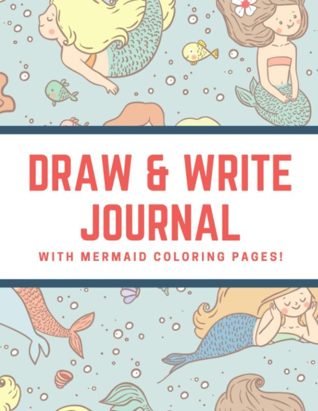 Draw and Write Journal with Mermaid Coloring Pages: Green Doodle