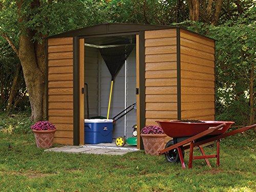 Arrow-Woodridge-Low-Gable-Steel-Storage-Shed-CoffeeWoodgrain