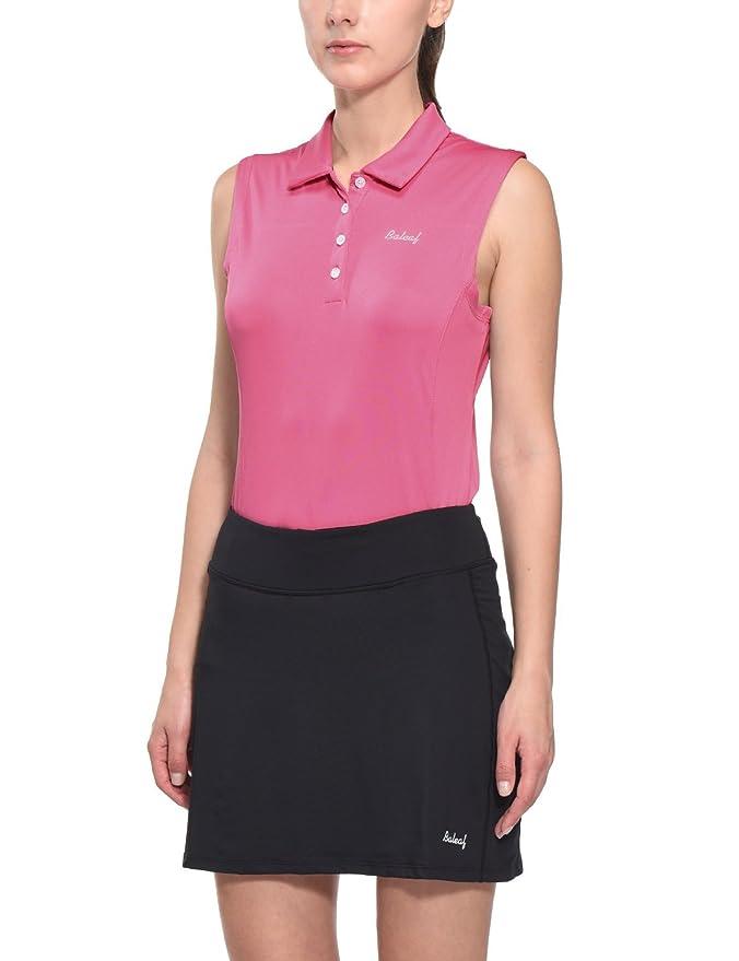 Baleaf Women's Golf Sleeveless Polo Shirts Quick Dry UPF 50+ Pink Size S