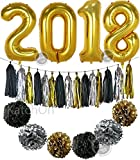 2018 Balloons with Pom Poms and Tassels - New Years Eve Party Supplies and Graduation Decorations - New Year Eve Decorations - Gold Black Silver PomPoms and Tassel