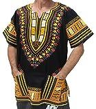 RaanPahMuang Brand Unisex Bright African Black Dashiki Cotton Shirt, X-Large, Yellow and Orange