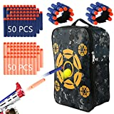 HuoBi Target Pouch Bag Nerf Storage with 100 Pcs Soft Foam Darts,2pcs Hand Wrist Band, Target Bag Storage Carry Target Equipment Bag for Nerf N-Strike Elite, Mega and Rival Series