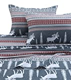 Tribeca Living WIRE170SHEETKI Winter Reindeer Flannel Deep Pocket Sheet Set, King,