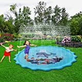Wise Man Sprinkler & Splash Play Mat, 2019 Upgraded Large Inflatable Outdoor Sprinkler Pad Water Toys for Kids, Toddlers, Children, Boys or Girls