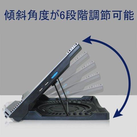 BESTEK ノートパソコン冷却台 360度回転 最大45度傾斜 風量調節可 超静音冷却ファン搭載 10-15インチ対応 USBポート2口 LED搭載 BTCPZ4 (黒)