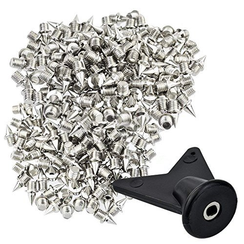 Wobe 200 Pcs 1/4 Inch Stainless Steel Spikes with 1 Pcs Spike Wrench, 0.25' Length Track and Cross Country Spikes Shoe Replacement Spikes for Sprint Sports Short Running Shoes Silver Color