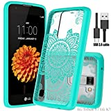 LG Tribute 5 case,LG K7 case,LG Treasure LTE case/LG Escape 3/LG Phoenix 2 case with Micro USB 2.0 Cable,Wtiaw Acrylic Hard Cover With Rubber TPU Bumper Hybrid Ultra Slim Protective for LG K7-YKL Mint