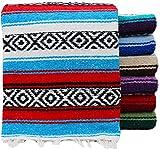 Threads West Premium Large Heavyweight Mexican Falsa Throw Blanket, Serape Stripe Yoga Blanket, Beach Blanket Available in 2 Sizes! (Large Heavy, Random Color)