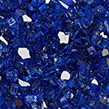 Celestial Fire Glass High Luster, 1/2' Reflective Tempered Fire Glass in Meridian Blue   10 Pound Jar