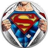 2016 CA BU Canada 5$ Superman 1 oz Colored Shirt Precious Bullion 999 Silver Coin $5 Uncirculated BM
