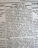 THE GREAT THUMB FIRE Michigan Bad Ax LAKE HURON Sanilac Lapeer MI 1881 Newspaper THE WHEELING INTELLIGENCER, West Virginia, September 8, 1881