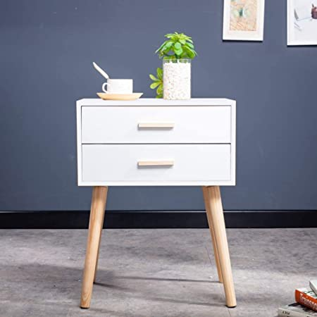 White Retro Bedside Tables Scandinavian Bedside Cabinet Bed Side Table With 2 Drawers For Bedroom 2 Drawers White Amazon Co Uk Kitchen Home