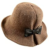 Product review of YSense Women's Wool Blend Foldable Floral Bucket Hat with Bowknot