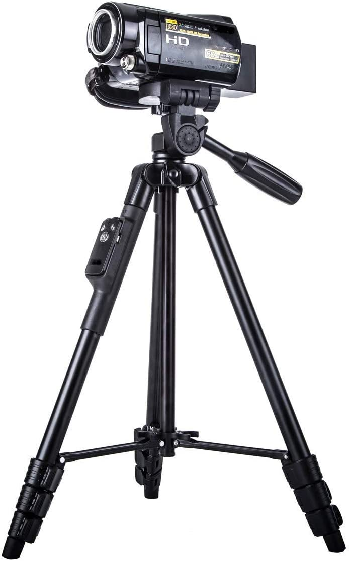 BMC Tripod Stand with Bluetooth Remote Control Shutter | Flexible Foldable Tripod for Camera, DSLR and Smartphones with Mobile Attachment (5208) (Black)