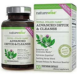 NatureWise Total Colon Care: Advanced Detox & Cleanse with Digestive Enzymes for Colon Health & Weight Loss, 30 to 60-Day Supply, 120 Count