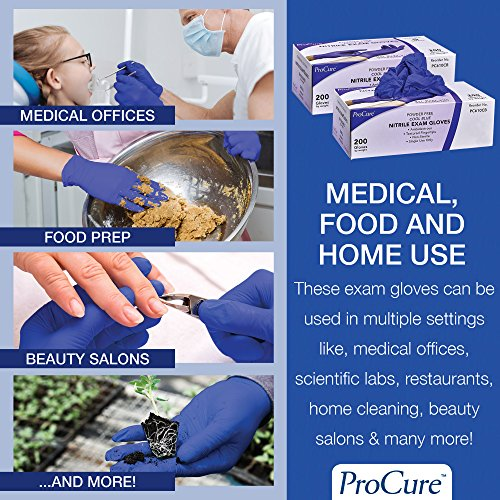 ProCure Disposable Nitrile Gloves – Powder Free, Rubber Latex Free, Medical Exam Grade, Non Sterile, Ambidextrous – Soft with Textured Tips – Cool Blue (Large, 1 Pack, 200 Count) deal 50% off 61nY 2Bk1XRiL