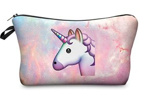 StylesILove Cute Graphic Pouch Travel Case Cosmetic Makeup Bag (Emoji Unicorn)