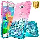 Galaxy J7 / J7 Neo / J7 Nxt / J7 Core Case w/[Screen Protector Premium Clear], NageBee Liquid Quicksand Waterfall Flowing Sparkle Diamond Girls Cute Case for Samsung Galaxy J7 J700 2015 -Pink/Aqua