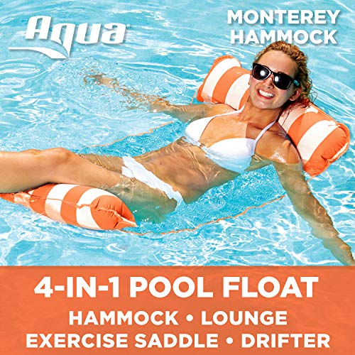 Aqua 4-in-1 Monterey Hammock Inflatable Pool Chair (Saddle, Lounge Chair, Hammock, Drifter), Adult Pool Float, Water Hammock, Orange/White Stripe