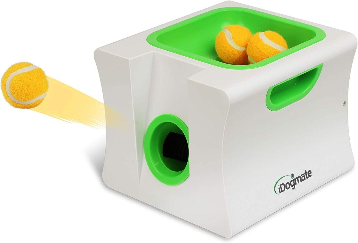 iDogmate Lanzador de Bolas de Perro pequeño, Lanzador automático de Bolas para Mini Perro (máquina pequeña con 3 Bolas)
