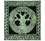 Gokul Handloom Weavers Celtic Tree of Life Tapestry Blanket Cotton Green Tree of Life Tapestry Good Luck Dorms Psychedelic Hippie Contemporary Canvas Wall Hanging Art Ultimate Tapestry Bohemian Decor