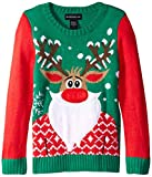 Blizzard Bay Big Girls' Bearded Rudolph Christmas Sweater, Green/Red, Large