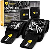 Wizsla Magnetic Wristband for Holding Screws, Tools, Set of 2 Sizes, Cool Father's Day Tool Gift for Men, Dad, Husband, DIY Handyman, Him/Her, Women (Black)