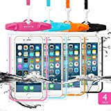 4 Pack Universal Waterproof Case FITFORT Cell Phone Dry Bag/Pouch for iPhone X 8 7 6 6S Plus Galaxy S8/S7 Edge/S6 Note4 LG G5 Up To 5.5
