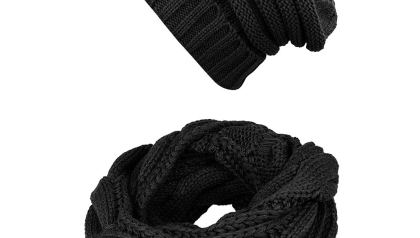 Knit Infinity Scarf Beanie Hat Set Women Winter Circle Loop Scarfs Scarves 0f5643724203