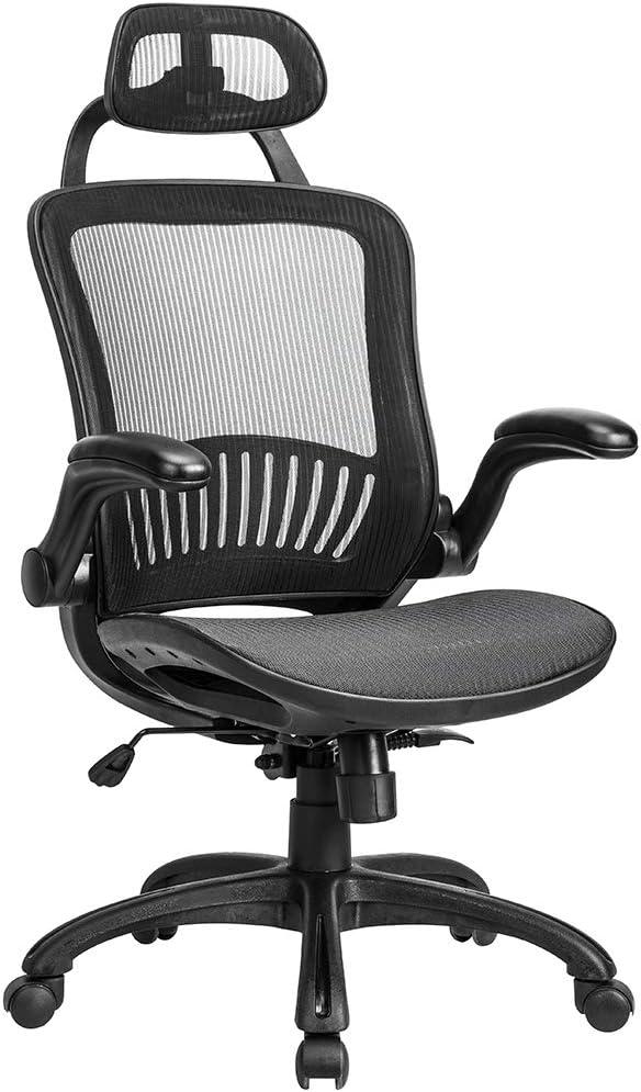 Amazon Com Office Chair Desk Chair Computer Chair Ergonomic Rolling Swivel Mesh Chair Lumbar Support Headrest Flip Up Arms High Back Adjustable Chair For Women Men Black Furniture Decor