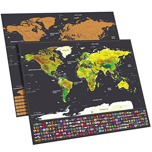 Top 10 best scratch map best of 2018 reviews no place called home scratch off map of the world with us states and country flags world map including flags map push pins scratcher memory stickers deluxe travel map gumiabroncs Images