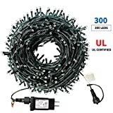 XTF2015 105ft 300 LED Christmas String Lights, End-to-End Plug 8 Modes Christmas Lights - UL Certified - Outdoor Indoor Fairy Lights Christmas Tree, Patio, Garden, Party, Wedding, Holiday, Warm White