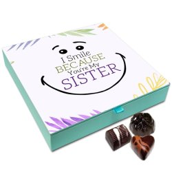 Chocholik Rakhi Gift Box – I Smile Because You are My Sister Chocolate Box for Sister – 9pc