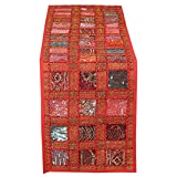 RAJRANG BRINGING RAJASTHAN TO YOU Vintage Style Rajasthani Patchwork Table Runner - Decorative Luxury Coffee Table Placemat Hand Embroidered Colorful Red Cotton Hippie Decor 12x72 Inches
