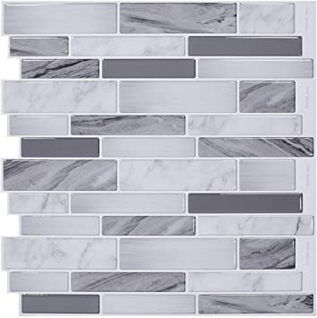 Stickgoo 12 X 12 Peel And Stick Wall Tiles Marble Look Stick On Tile Stickers Self Adhesive Tiles For Kitchen Bathroom Splashback Pack Of 10 Grey Amazon Co Uk Diy Tools
