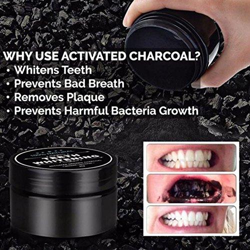 Teeth Whitening Charcoal Powder, Natural Activated Charcoal Teeth Whitener Powder with Bamboo Brush Oral Care Set (1.05 oz) 5