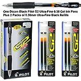 G2 Pens 31277 Black Pilot G2 Ultra-fine 0.38mm Gel Ink Pens, 1 Dozen Plus 2 Packs 0.38mm Ultra Fine Black Gel Ink Refills