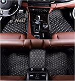 OkuTech Custom Fit XPE-Leather All Full Surrounded Waterproof Car Floor Mats for Mercedes Benz C Class C180 C200 C250 C260 C300 C350 4 Door 2014-2019,Black with Beige Stitching