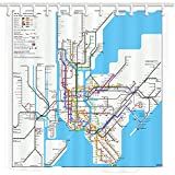 NYMB 3D Digital Printing Map Decor New York City Subway Shower Curtain, Fabric Bathroom Decorations, Bath Curtains Hooks Included, 69X70 inches (Multi21)