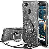 Google Pixel 2 Case, Glitter Bling Diamond Rhinestone Bumper Cute Pixel 2 Phone Case for Girls with Ring Kickstand Sparkly Protective Google Pixel 2 Case for Girl Women - Black