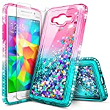 Galaxy J7 Case (2015), J7 Neo /J7 Nxt /J7 Core (J701) with Screen Protector for Girls Kids Women, NageBee Glitter Liquid Bling Floating Waterfall Cute Case for Samsung Galaxy J7 (J700) -Pink/Aqua