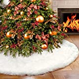 AerWo Faux Fur Christmas Tree Skirt 48 inches Snowy White Tree Skirt for Christmas Decorations