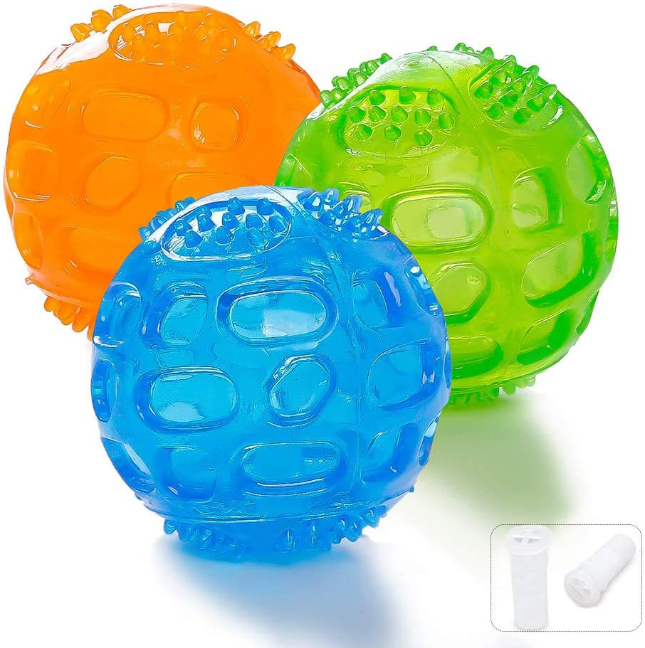 Pelota Perro Impermeable Bola Inflable Goma Juguete de Goma, Squeaker Squeeze Pet Ball juguetes, Interactiva Para Perros Traning, el Diámetro 7.5cm, 3 Piezas (Verde, Azul, Naranja)