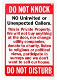 WALI Aluminum Sign for Home Business Security, Legend 'Do Not Knock-Do Not Disturb', Rectangle 10' High x 7' Wide, UV Protected and waterproof (SIGN-A-5), Red/Black on White